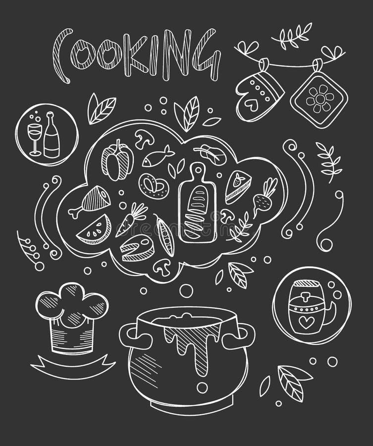 Matlagningvektorillustration, svart tavlateckning stock illustrationer