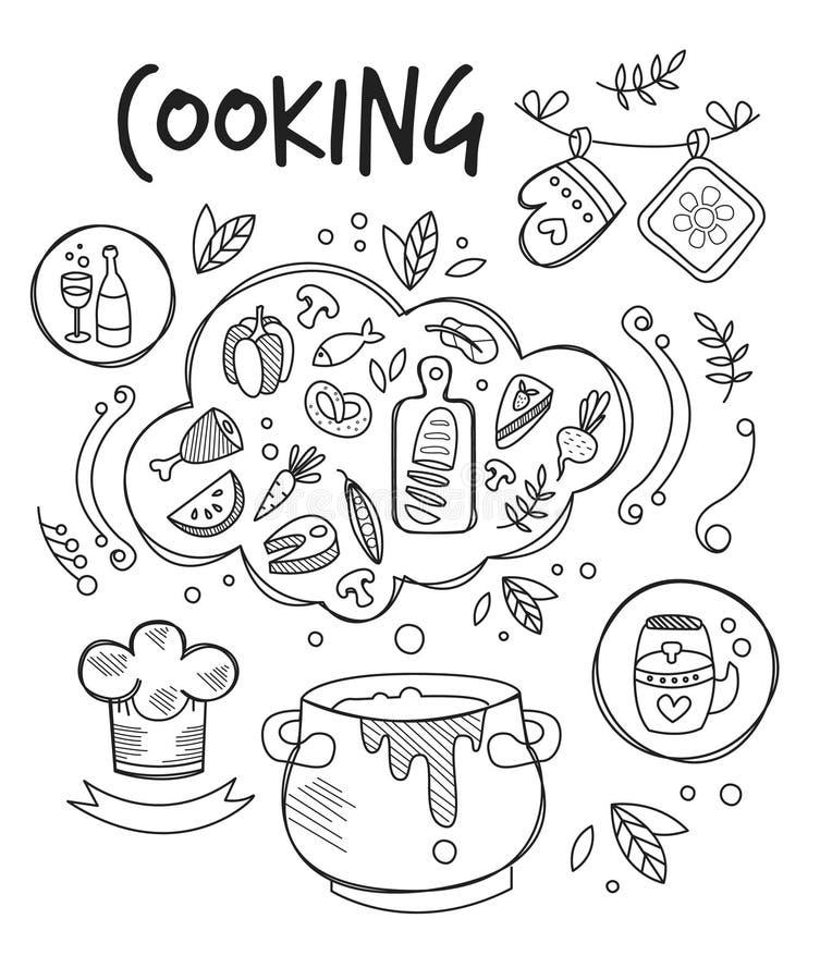 Matlagningvektorillustration, svart tavlateckning vektor illustrationer
