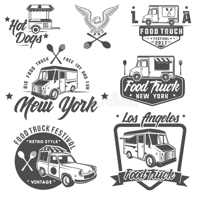 Matlastbil- och glassemblem, emblem och designbeståndsdelar royaltyfria bilder