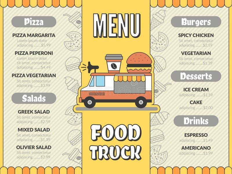 Matlastbilmeny Utomhus- kök i snabbmat för bil mobil skåpbil mexikan tacoglass dricker mallen för pizzareklambladvektorn stock illustrationer