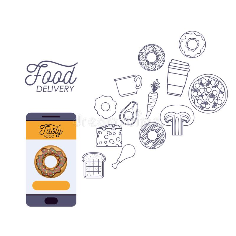 Matleveransaffisch med foods och smartphonen app royaltyfri illustrationer