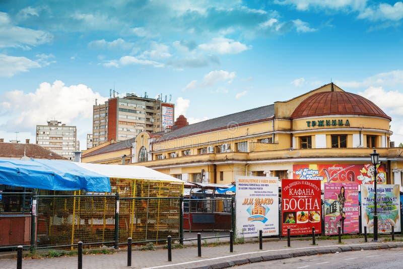 Matmarknad i Zelena Pijaca Trzhnica av stadmitten av Kragujevac - den största staden av Sumadija område arkivbild