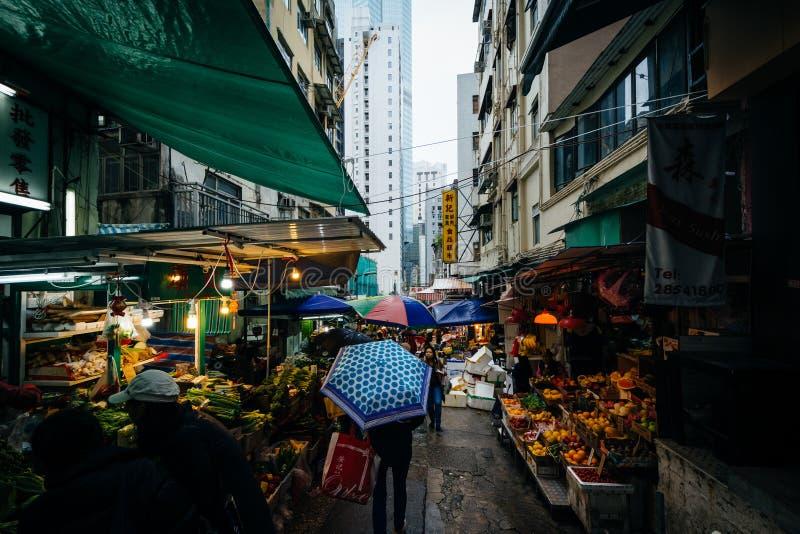 Matmarknad på Graham Street, i Hong Kong, Hong Kong fotografering för bildbyråer