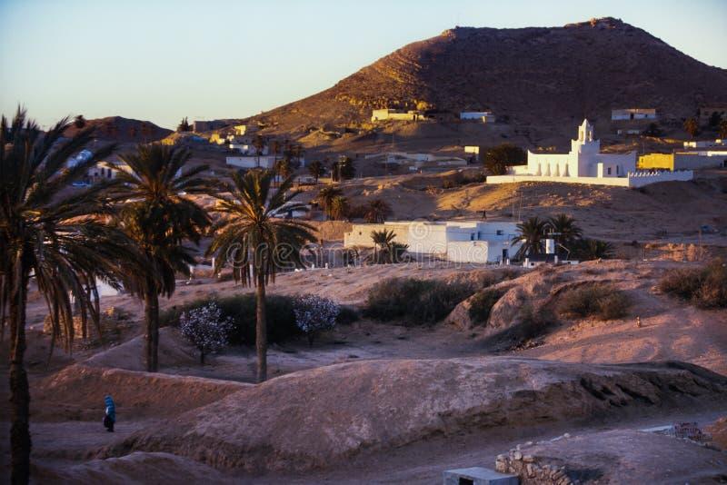Matmata, Tunesië - Holbewonerwoningen in het Berber-dorp royalty-vrije stock fotografie