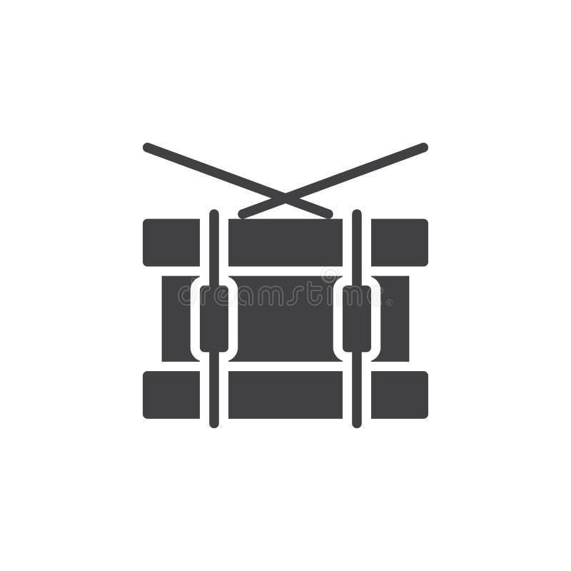 Matnia bębenu ikony wektor, wypełniający mieszkanie znak, stały piktogram odizolowywający na bielu Symbol, logo ilustracja royalty ilustracja