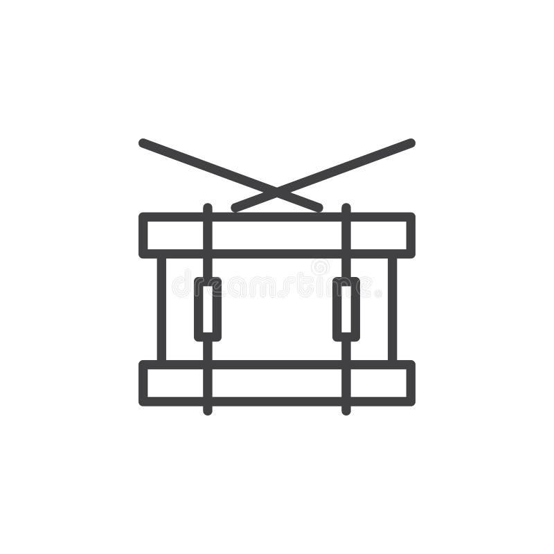Matnia bębenu linii ikona, konturu wektoru znak, liniowy stylowy piktogram odizolowywający na bielu ilustracja wektor
