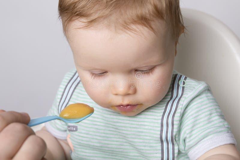 Matning av ett småbarn fotografering för bildbyråer