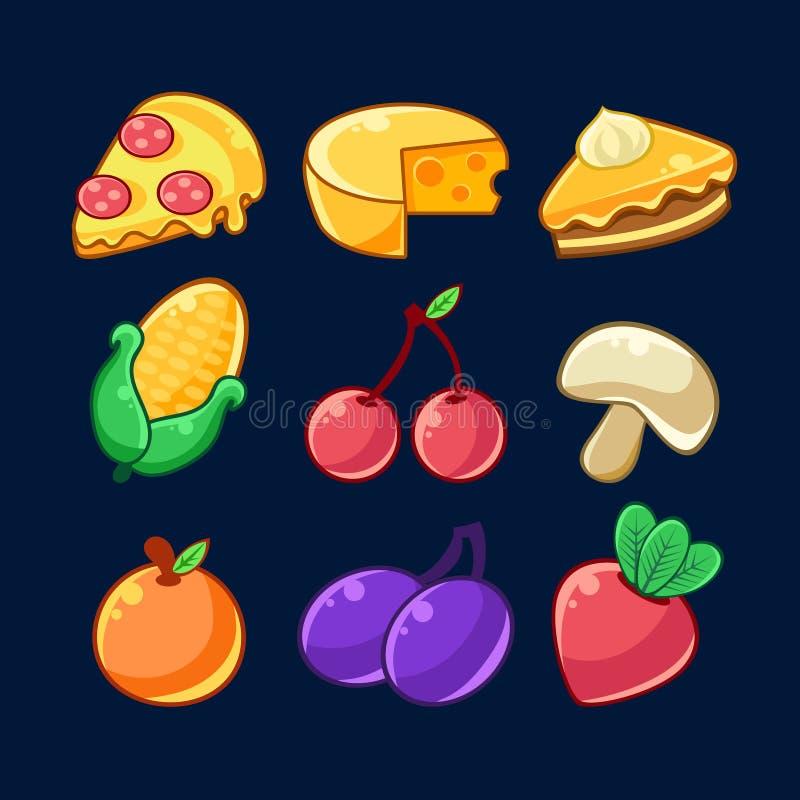 Matobjekt skisserade den barnsliga klistermärkeuppsättningen för prålig modig design inklusive frukter, bär och pizza royaltyfri illustrationer