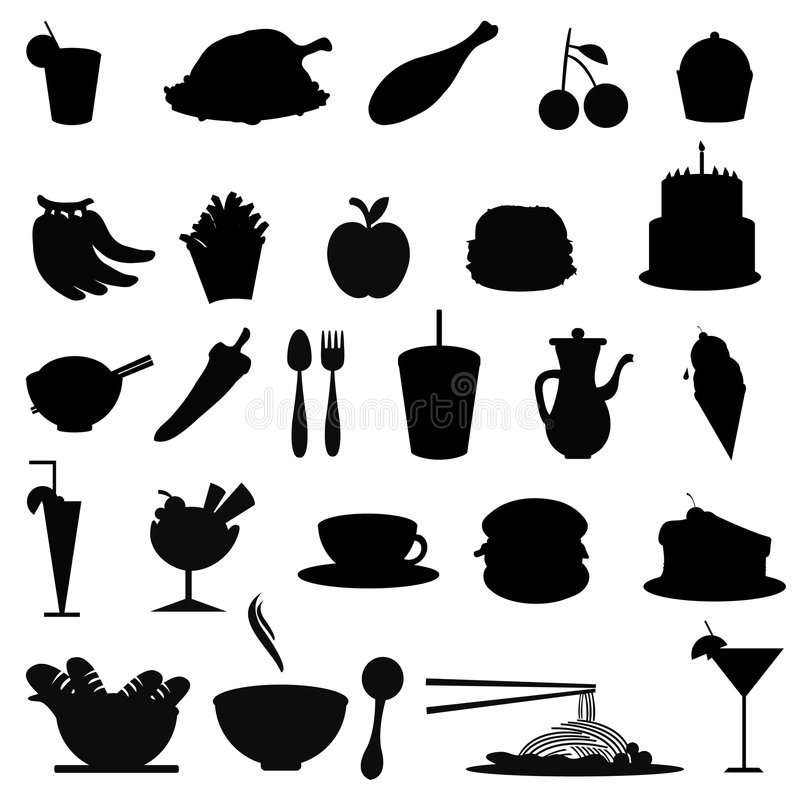 matobjektsilhouettes vektor illustrationer