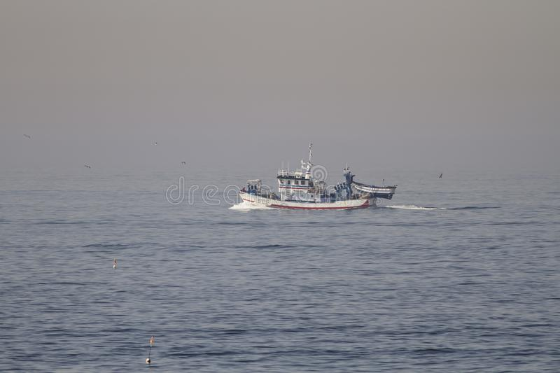 Matosinhos, Portugal - September 29, 2015: Taditional Portugese sardine die houten treiler vissen die naar Leixoes-haven binnen v royalty-vrije stock foto