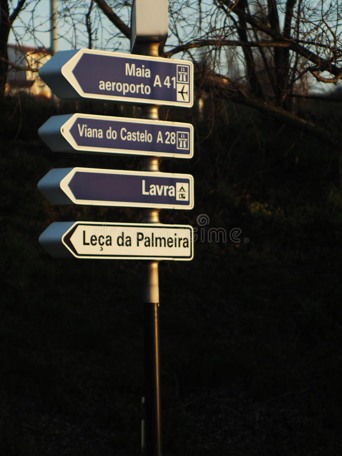 Matosinhos Portugal Traffic signs. Road signs on Matosinhos city to get directions to aeroport,camping,Viana do Castelo,and Leça da Palmeira royalty free stock photo