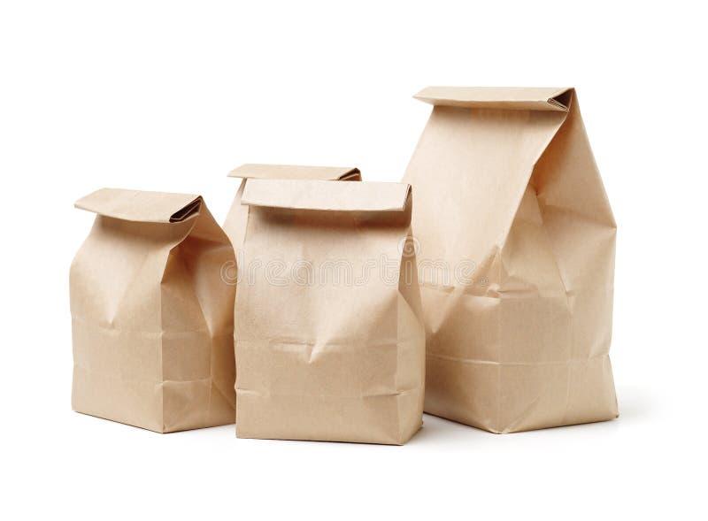 Matpåse för brunt papper som förpackar med ventilen och skyddsremsan royaltyfria foton
