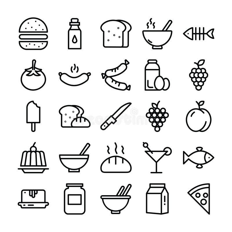 Matpacke av linjen symboler royaltyfri illustrationer