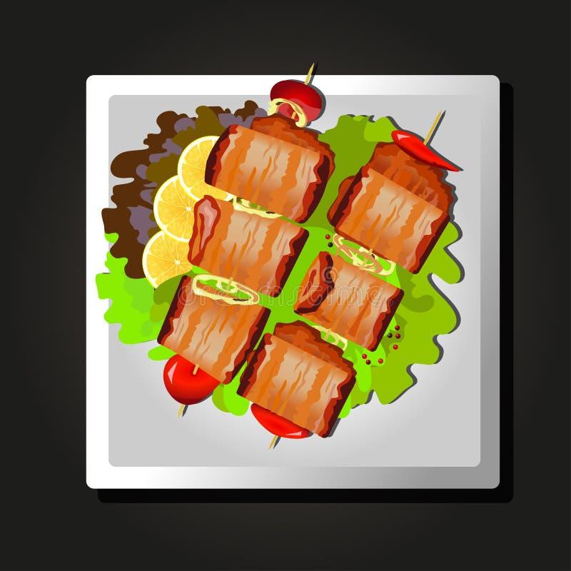 Maträtt av kött på steknålar, tomater och örter på svart bakgrund stock illustrationer