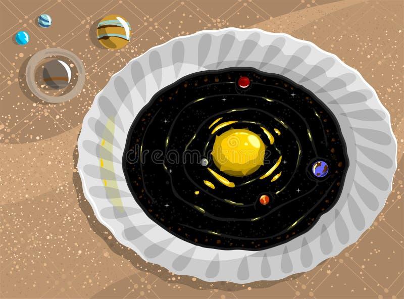 Maträtt av ny soppa med galaxen också vektor för coreldrawillustration Plan stil stock illustrationer