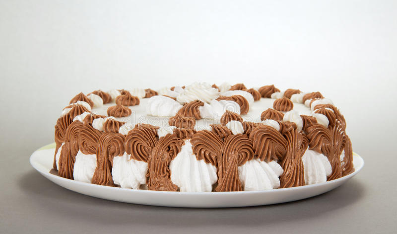 Maträtt med en tårta arkivbilder