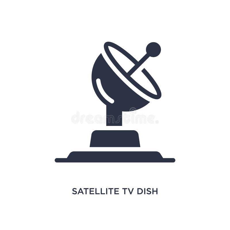 maträttsymbol för satellit- tv på vit bakgrund Enkel beståndsdelillustration från biobegrepp royaltyfri illustrationer