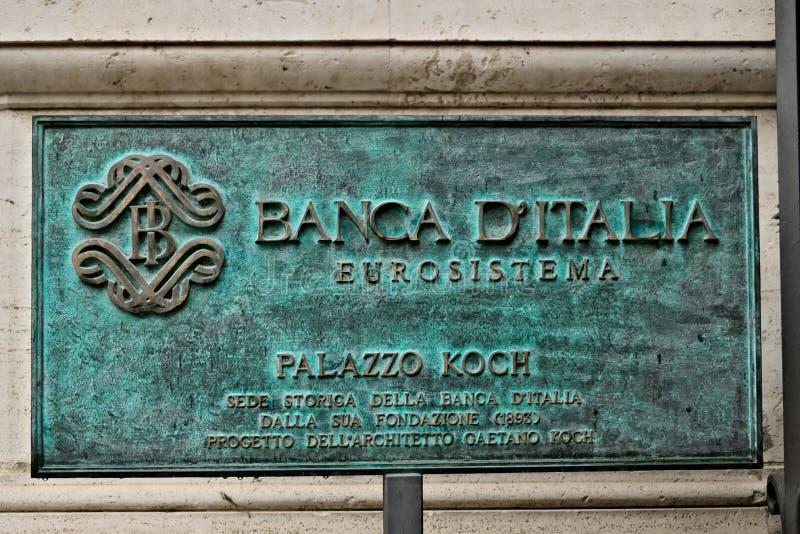 Matrícula das matrizes do Banco de Itália em Roma fotos de stock
