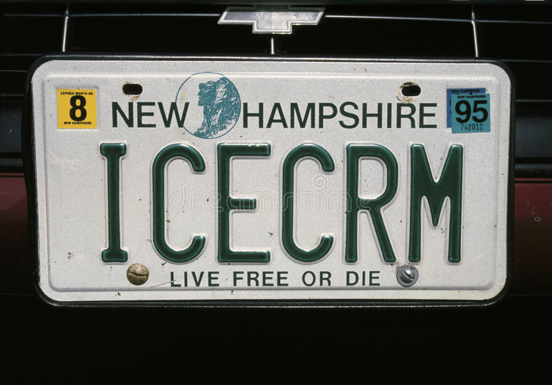 Matrícula de la vanidad de de New Hampshire imagen de archivo