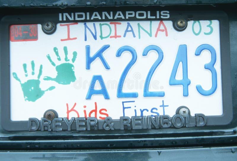 Matrícula en Indiana imagen de archivo