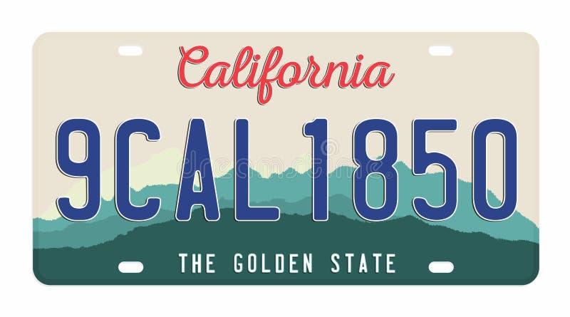 Matrícula isolada no fundo branco Matrícula de Califórnia com números e letras Crachá para o gráfico do t-shirt ilustração stock