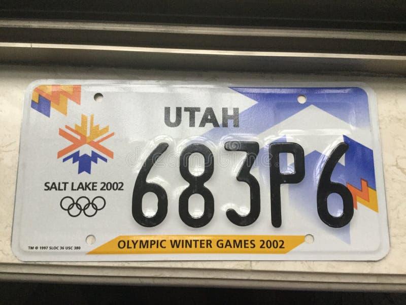 Matrícula olímpica de Utá 2002 foto de stock royalty free