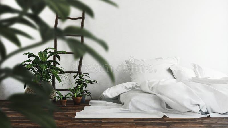 Matratze mit ungemachtem weißem Bettzeug auf dem Boden vektor abbildung