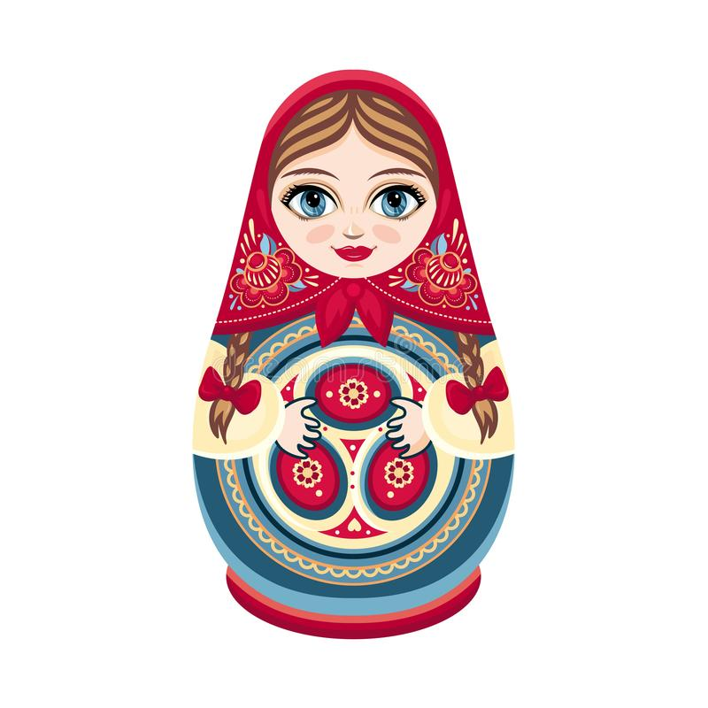 Matreshka de Moscou Élément de conception de figurine de couleur Souvenir slave Décoration faite main de la Russie illustration libre de droits
