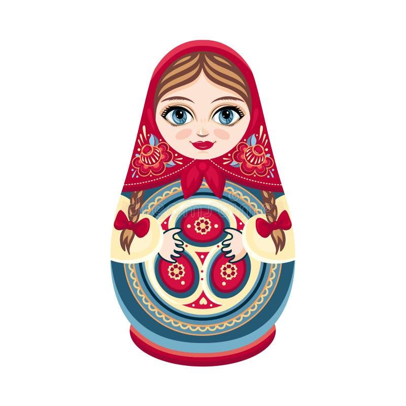 Matreshka di Mosca Elemento di progettazione della figurina di colore Ricordo dello slavo Decorazione fatta a mano della Russia royalty illustrazione gratis