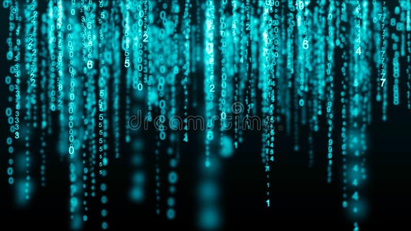 Matrice bleue de fond de Digital Code machine binaire Concept de pirate informatique rendu 3d illustration libre de droits