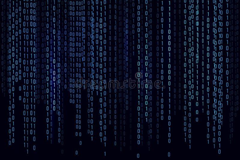 Matrice bleue de fond de Digital Fond dans un style de matrice Code machine binaire Nombres al?atoires courants Illustration de v illustration stock