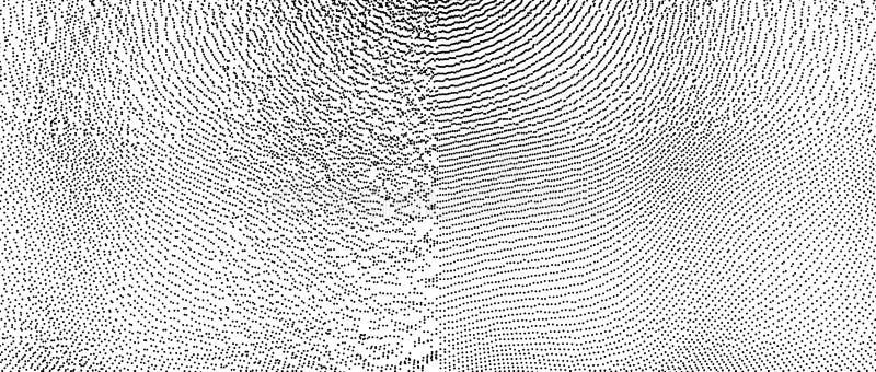 Matrice con le particelle dinamiche Stile futuristico di tecnologia Struttura Illustrazione di vettore con la particella superfic illustrazione di stock