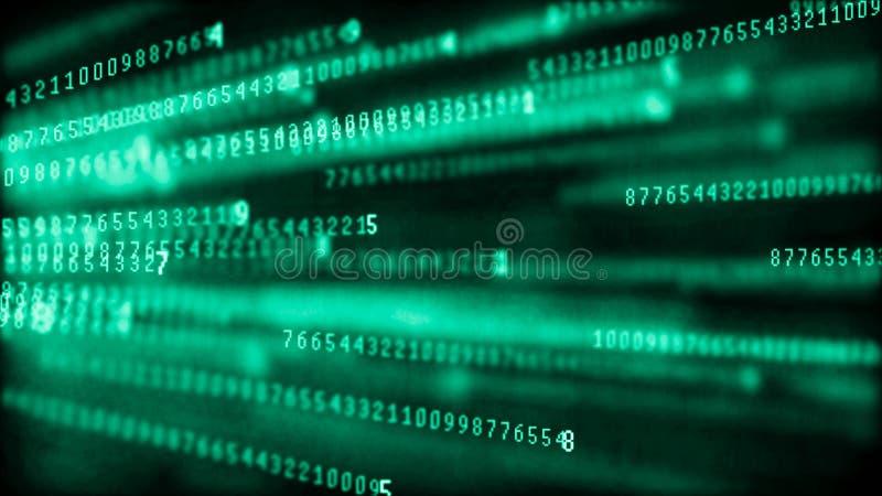 Matrice de fond de Digital Code machine binaire Concept de pirate informatique rendu 3d illustration libre de droits
