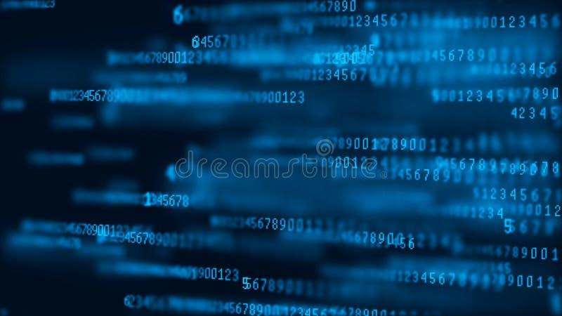 Matrice de fond de Digital Paquets de données Code machine binaire Concept de pirate informatique rendu 3d illustration de vecteur