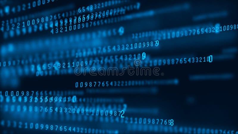 Matrice de fond de Digital Paquets de donn?es Code machine binaire Concept de pirate informatique rendu 3d illustration de vecteur