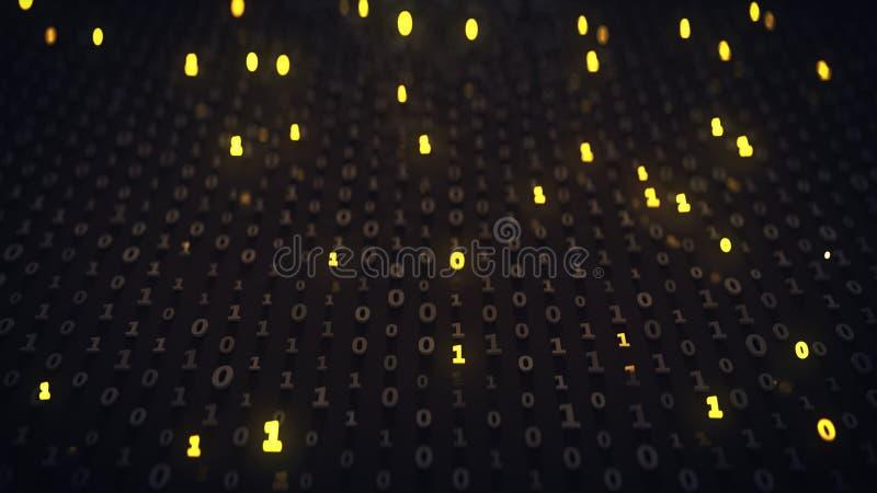 Matrice del codice binario con illuminare i simboli 3D per rendere illustrazione di stock