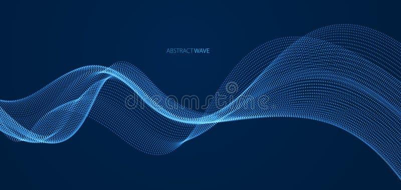 Matrice delle particelle che circolano sul fondo scuro, onda sonora dinamica illustrazione di vettore 3d Maglia che splende i pun illustrazione vettoriale