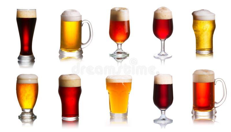 Matrice di varie specie delle birre Selezione di vari tipi di birre, birra inglese fotografia stock