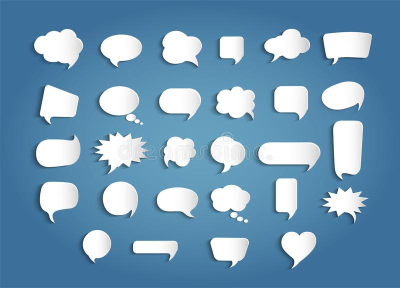Paper chat cartoon bubbles shape and word box for entering text message. Set speech bubbles empty. Dialogue and communication bubb stock illustration
