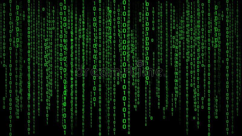 Matrice verte de fond de Digital Code machine binaire rendu 3d illustration de vecteur