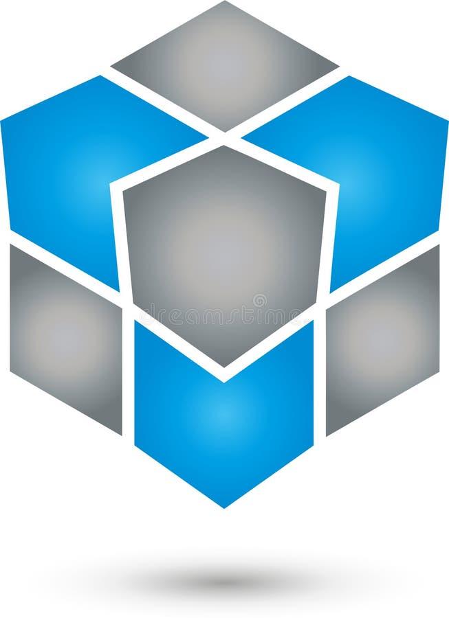 Matrices, cube et flèches logo en couleurs, le réseau et de service informatique services, icône illustration libre de droits