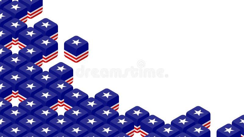 matrices 3D isométriques avec le modèle de drapeau des Etats-Unis d'Amérique, la guerre commerciale et l'illustration de concepti illustration libre de droits