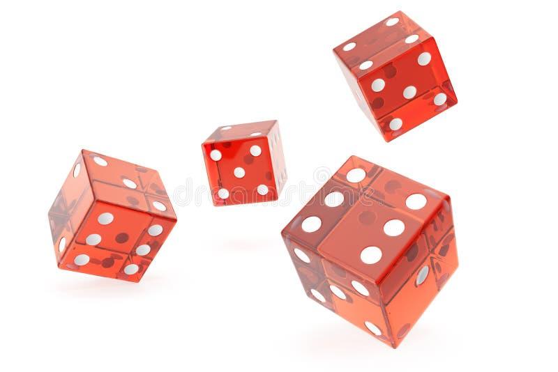 Matrices rouges de casino, concept de jouer, sur le fond blanc, le rendu 3d illustration de vecteur