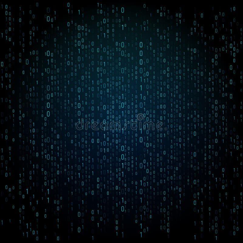 Matrijstextuur met cijfers De binaire code, vat futuristische cyberspace achtergrond samen Gegevens analisys patroon royalty-vrije illustratie