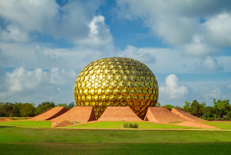 Matrimandir - Golden Temple in Auroville, Tamil Nadu. India stock photography