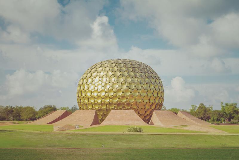 Matrimandir - Golden Temple in Auroville, Tamil Nadu, India royalty free stock image