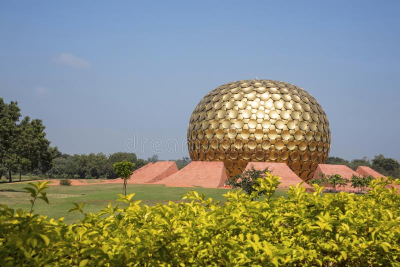 The Matrimandir, situated in the middle of the town, Auroville, Pondicherry, Tamil Nadu, India. The Matrimandir, situated in the middle of the town, Auroville royalty free stock photos