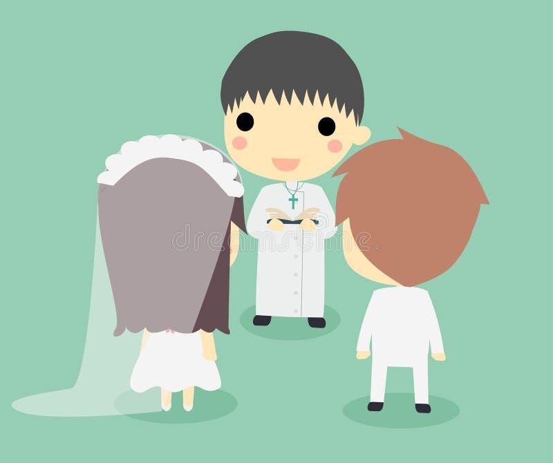 Matrimonio delle coppie con il sacerdote royalty illustrazione gratis
