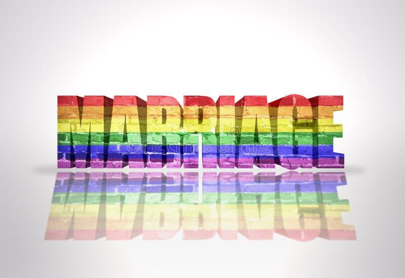 Matrimonio di parola con la bandiera gay dell'arcobaleno illustrazione vettoriale
