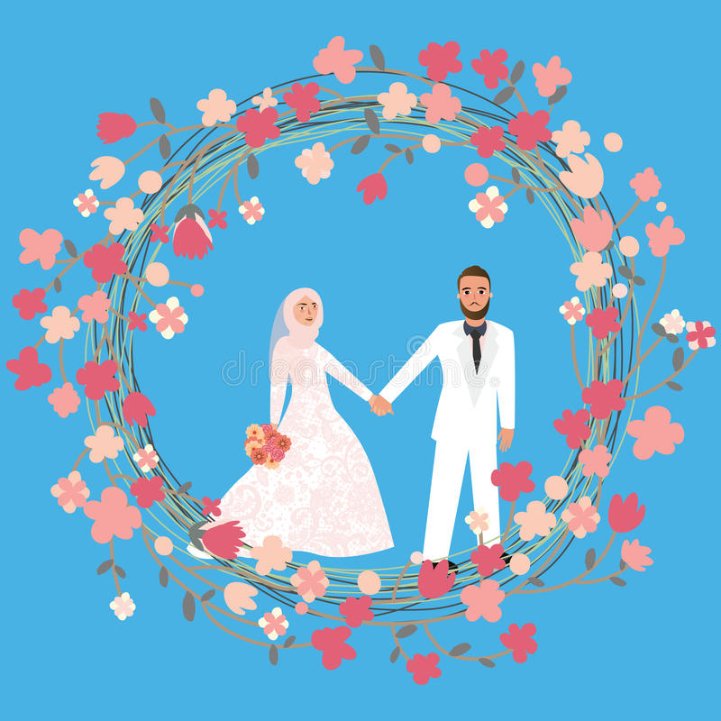 Matrimonio di relazione delle coppie della donna dell'uomo nell'Islam che indossa velo capo del hijab della sciarpa illustrazione di stock